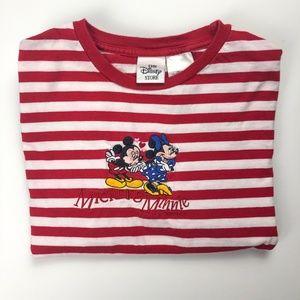Mickey & Minnie Kiss Red & White Stripe T-shirt